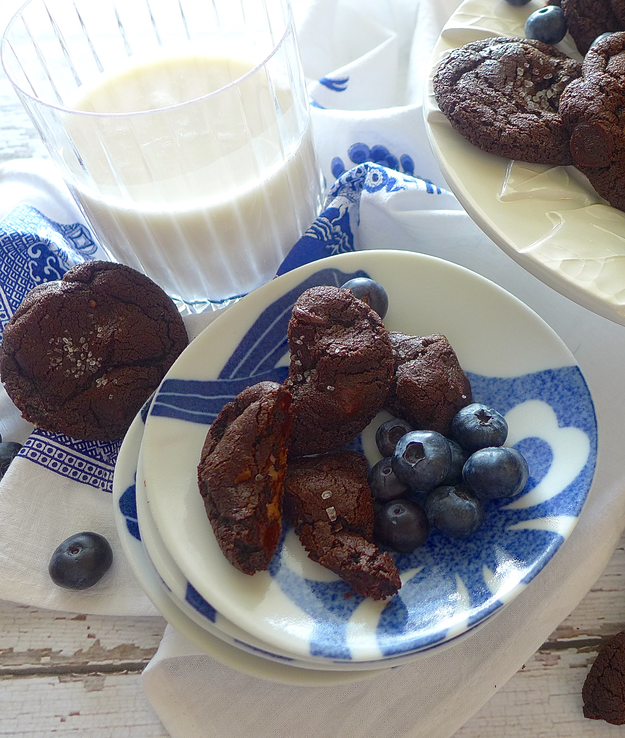 Double Chocolate Caramel Cookies make a great snack with fruit and a glass of your favorite milk or milk alternative. ( Almond milk pictured.)