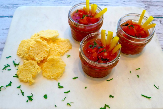 Gazpacho with Parmesan Crisps