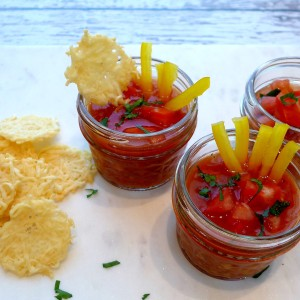 We like to keep a big batch of Gazpacho in the refrigerator for a snack that's low fat, low calorie and gluten free. Dress it up with parsley, pepper sticks and extra chopped peppers or tomatoes. It's aasy to make, beautiful and totally addictive!