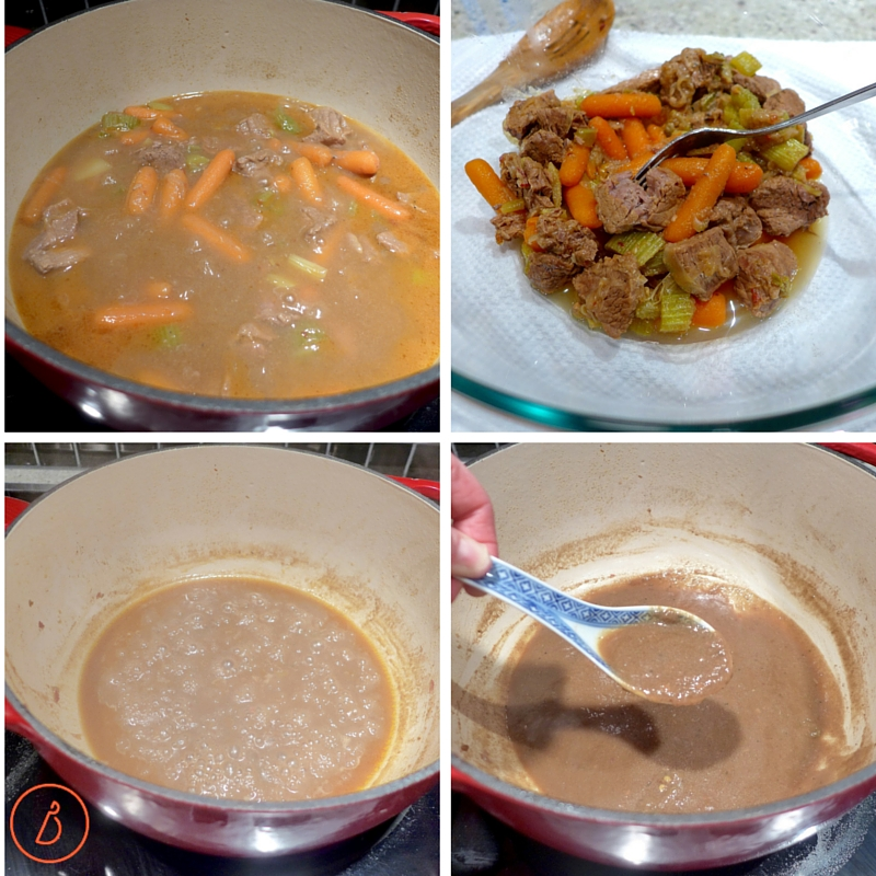 Remove tender meat and veg and reduce broth to make a thin gravy.
