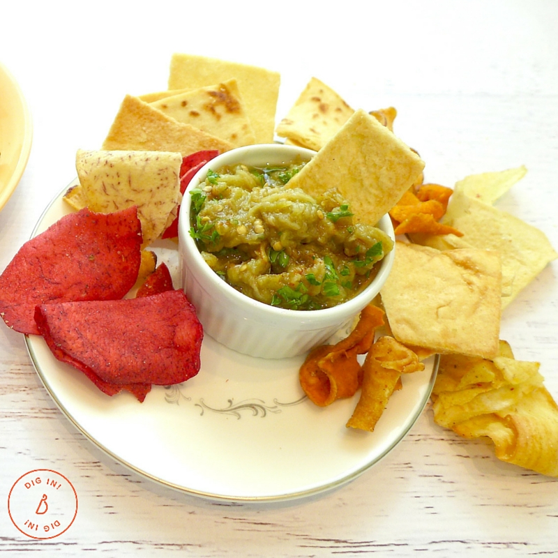Garnish Eggplant Dip with fresh chopped parsley and serve with raw vegetables and crunchy pita and vegetable chips.