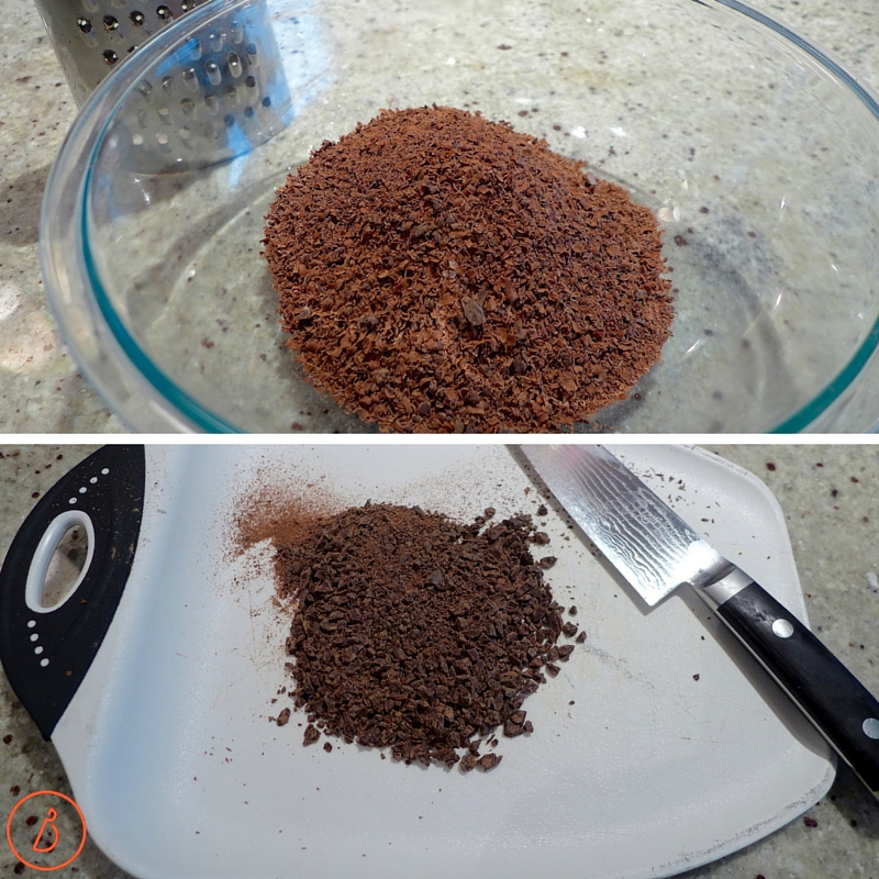 Grate or finely chop chocolate for smooth truffles.