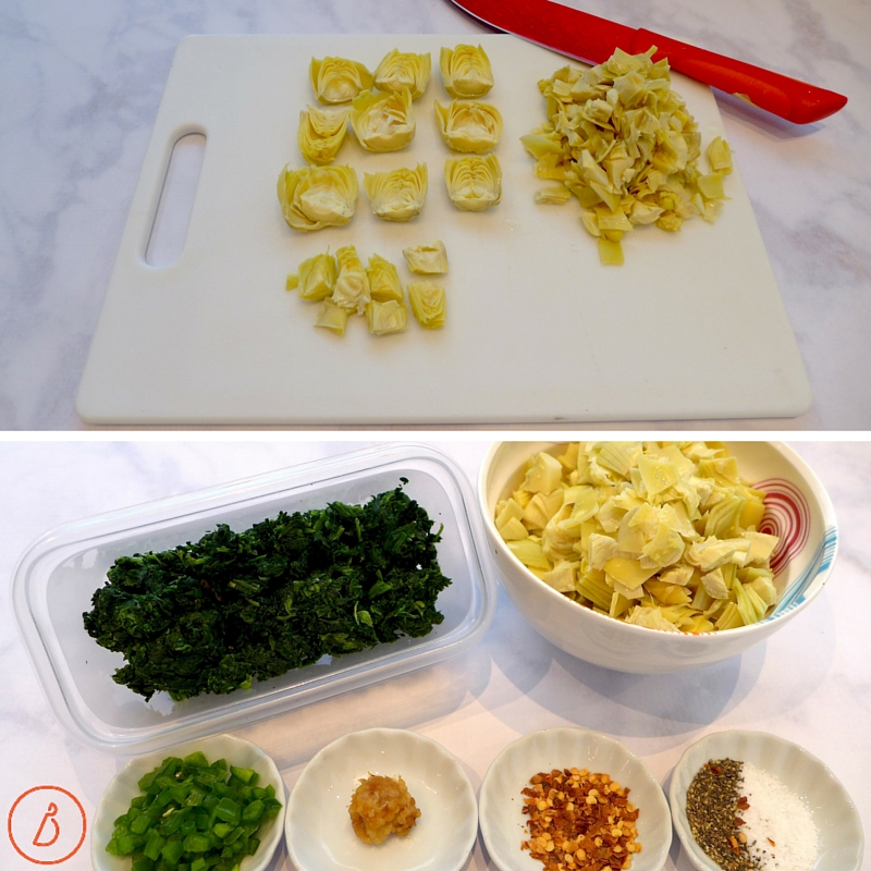Squeeze and chop vegetables and measure out spices.