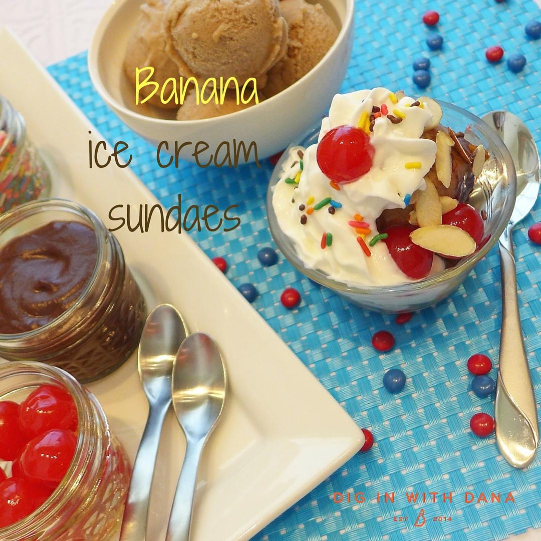 Banana ice cream sundaes