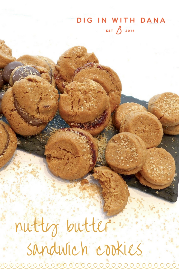 Dig in to a heavenly crunch: Nutty butter sandwich cookies. Easy recipe, variations and helpful photos at diginwithdana.com